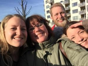 Ferdig med første opptaksdag. Fra venstre: Madeleine, Catharina, Thomas og Hilde